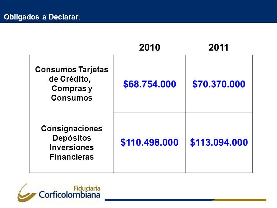 Obligados a Declarar. 20102011 Consumos Tarjetas de Crédito, Compras y Consumos $68.754.000$70.370.000 Consignaciones Depósitos Inversiones Financiera