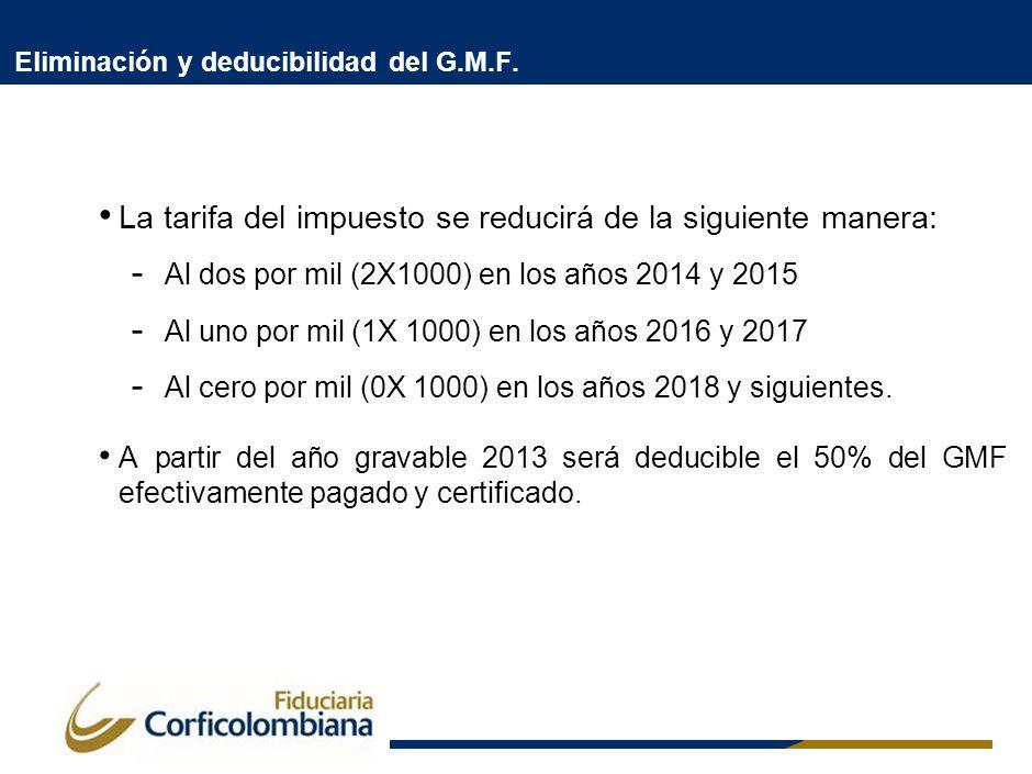 Eliminación y deducibilidad del G.M.F. La tarifa del impuesto se reducirá de la siguiente manera: - Al dos por mil (2X1000) en los años 2014 y 2015 -