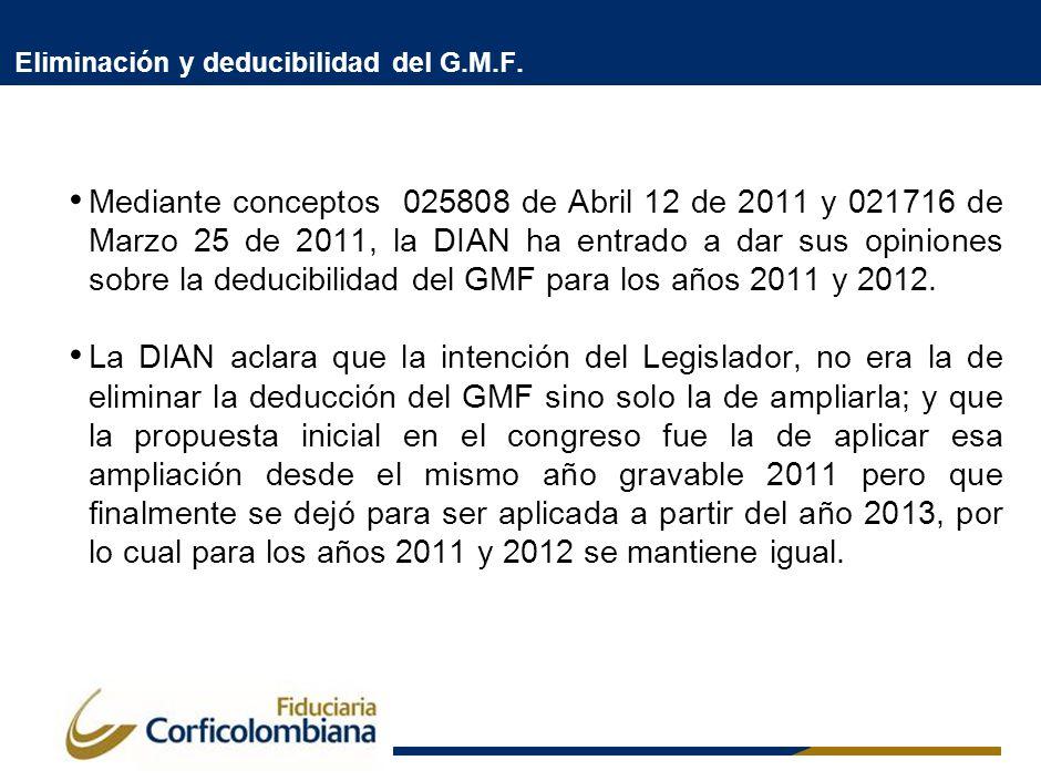 Eliminación y deducibilidad del G.M.F. Mediante conceptos 025808 de Abril 12 de 2011 y 021716 de Marzo 25 de 2011, la DIAN ha entrado a dar sus opinio