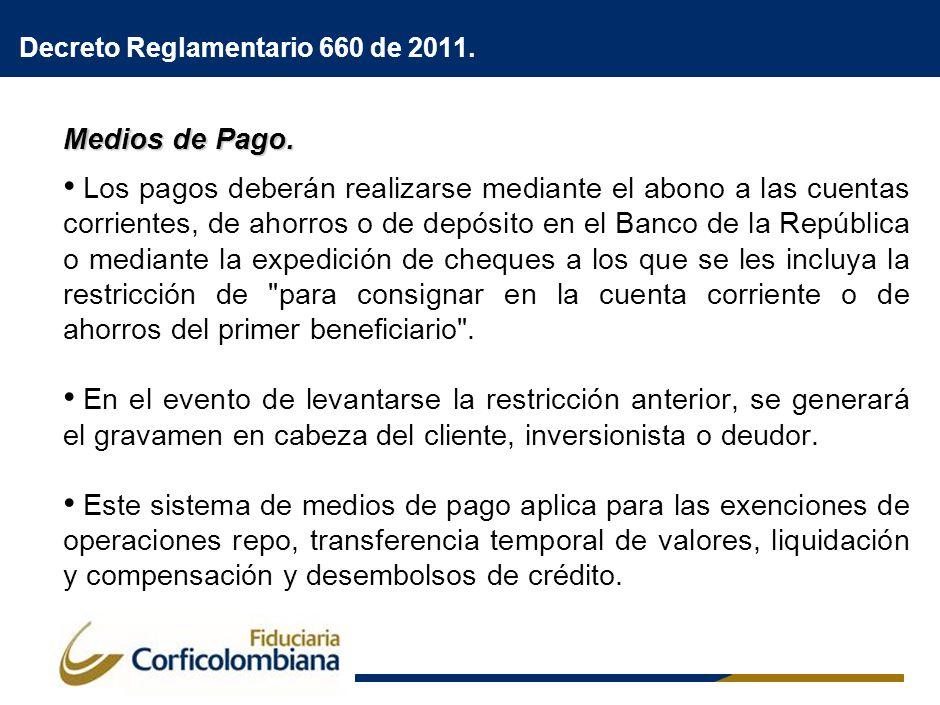 Decreto Reglamentario 660 de 2011. Medios de Pago. Los pagos deberán realizarse mediante el abono a las cuentas corrientes, de ahorros o de depósito e