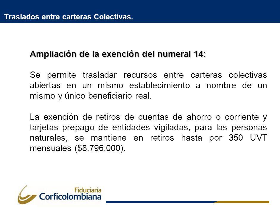 Traslados entre carteras Colectivas. Ampliación de la exención del numeral 14: Se permite trasladar recursos entre carteras colectivas abiertas en un