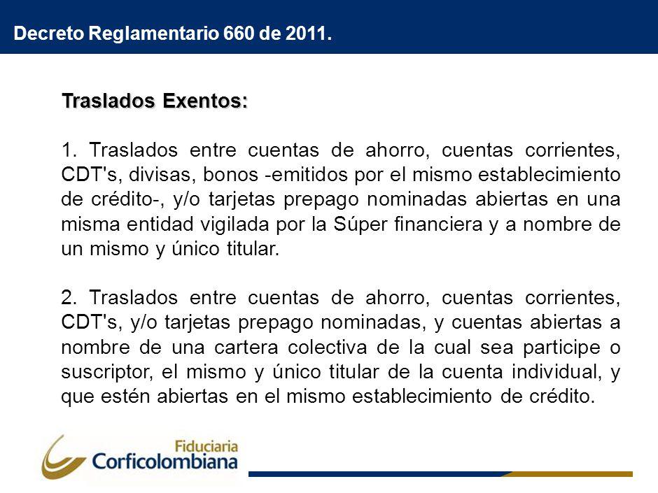 Traslados Exentos: 1. Traslados entre cuentas de ahorro, cuentas corrientes, CDT's, divisas, bonos -emitidos por el mismo establecimiento de crédito-,