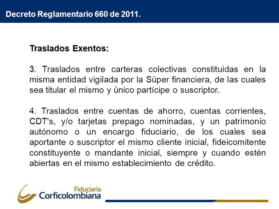 Traslados Exentos: 3. Traslados entre carteras colectivas constituidas en la misma entidad vigilada por la Súper financiera, de las cuales sea titular