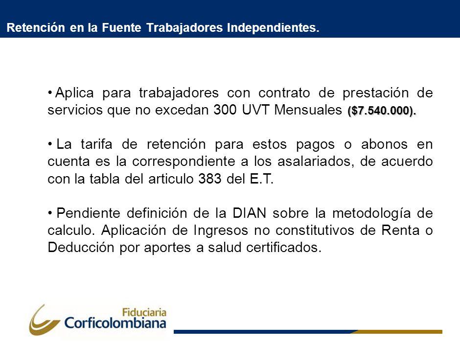 Retención en la Fuente Trabajadores Independientes. ($7.540.000). Aplica para trabajadores con contrato de prestación de servicios que no excedan 300