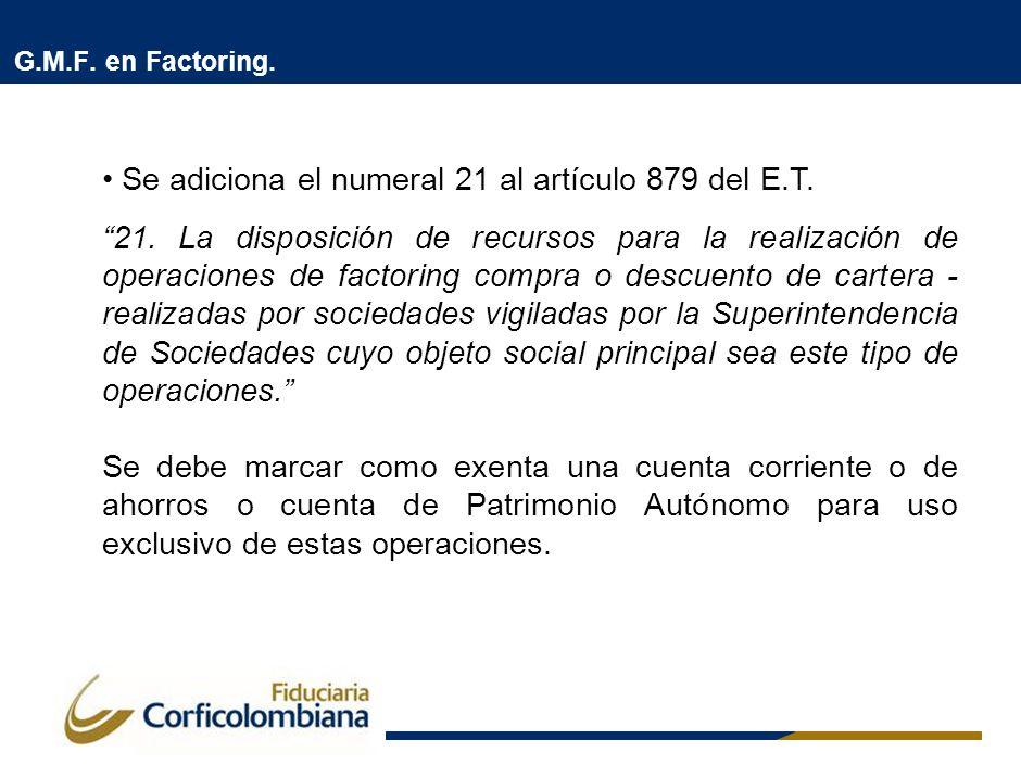 G.M.F. en Factoring. Se adiciona el numeral 21 al artículo 879 del E.T. 21. La disposición de recursos para la realización de operaciones de factoring