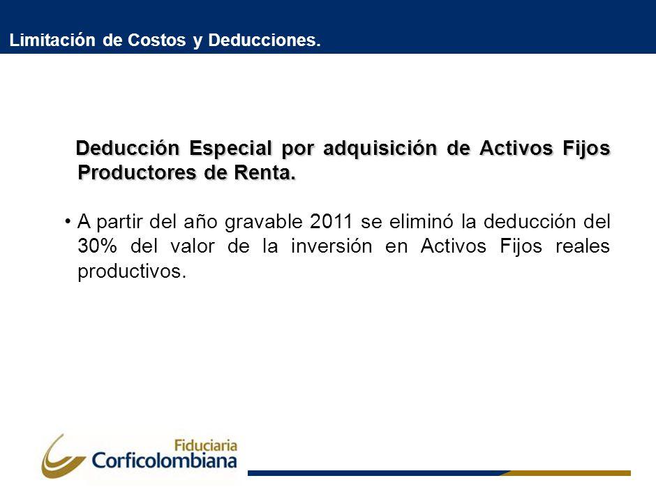 Limitación de Costos y Deducciones. Deducción Especial por adquisición de Activos Fijos Productores de Renta. Deducción Especial por adquisición de Ac