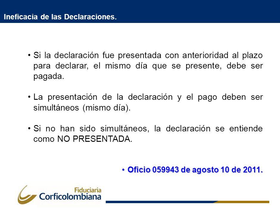 Ineficacia de las Declaraciones. Si la declaración fue presentada con anterioridad al plazo para declarar, el mismo día que se presente, debe ser paga