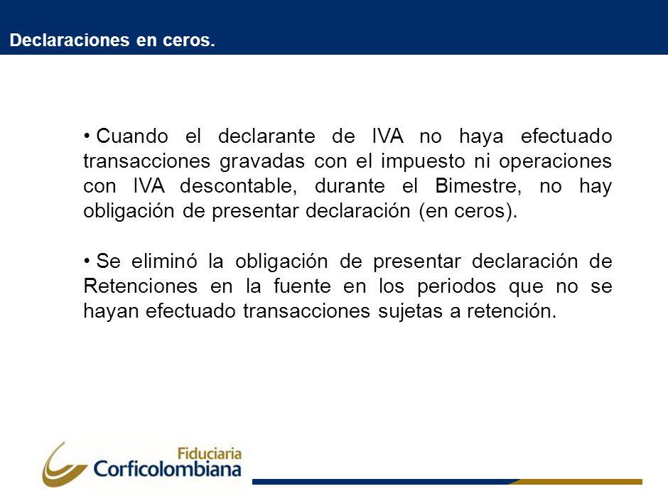 Declaraciones en ceros. Cuando el declarante de IVA no haya efectuado transacciones gravadas con el impuesto ni operaciones con IVA descontable, duran