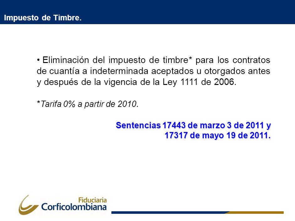 Impuesto de Timbre. Eliminación del impuesto de timbre* para los contratos de cuantía a indeterminada aceptados u otorgados antes y después de la vige