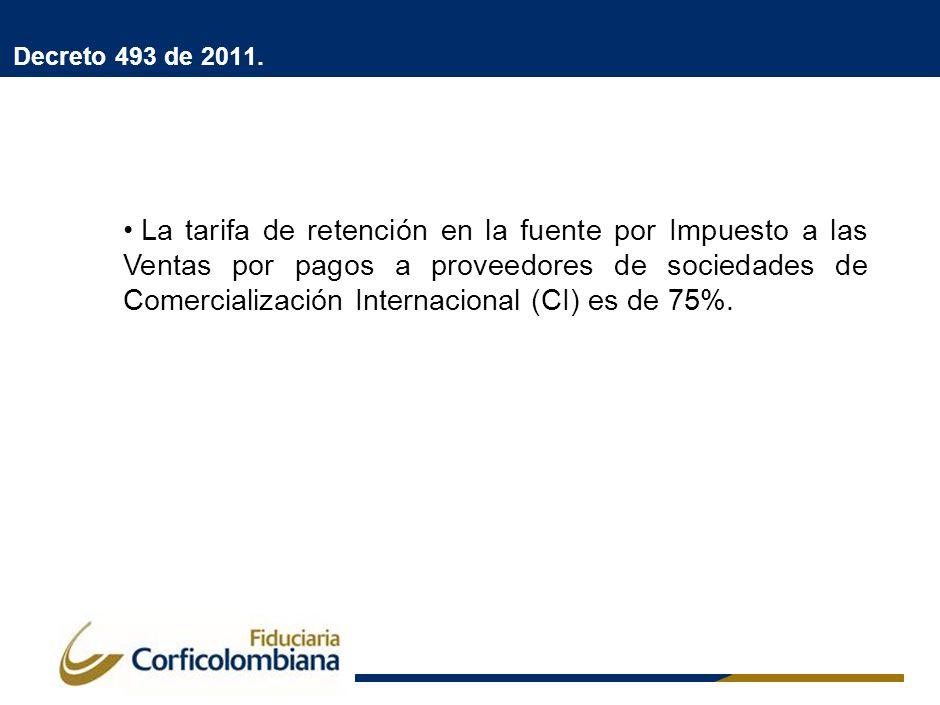 Decreto 493 de 2011. La tarifa de retención en la fuente por Impuesto a las Ventas por pagos a proveedores de sociedades de Comercialización Internaci