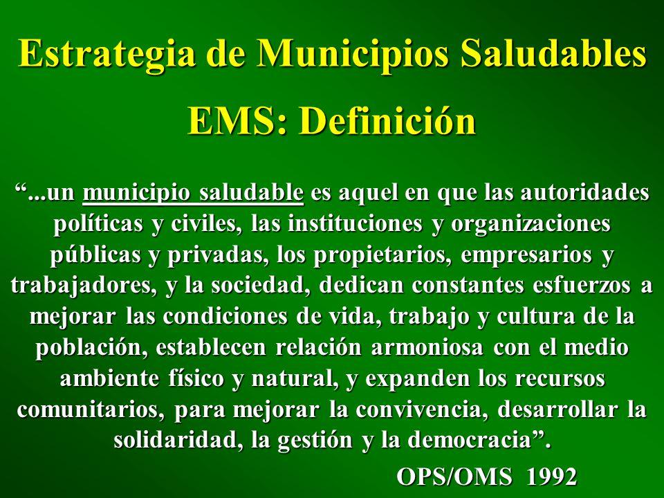 Estrategia de Municipios Saludables EMS: Definición...un municipio saludable es aquel en que las autoridades políticas y civiles, las instituciones y