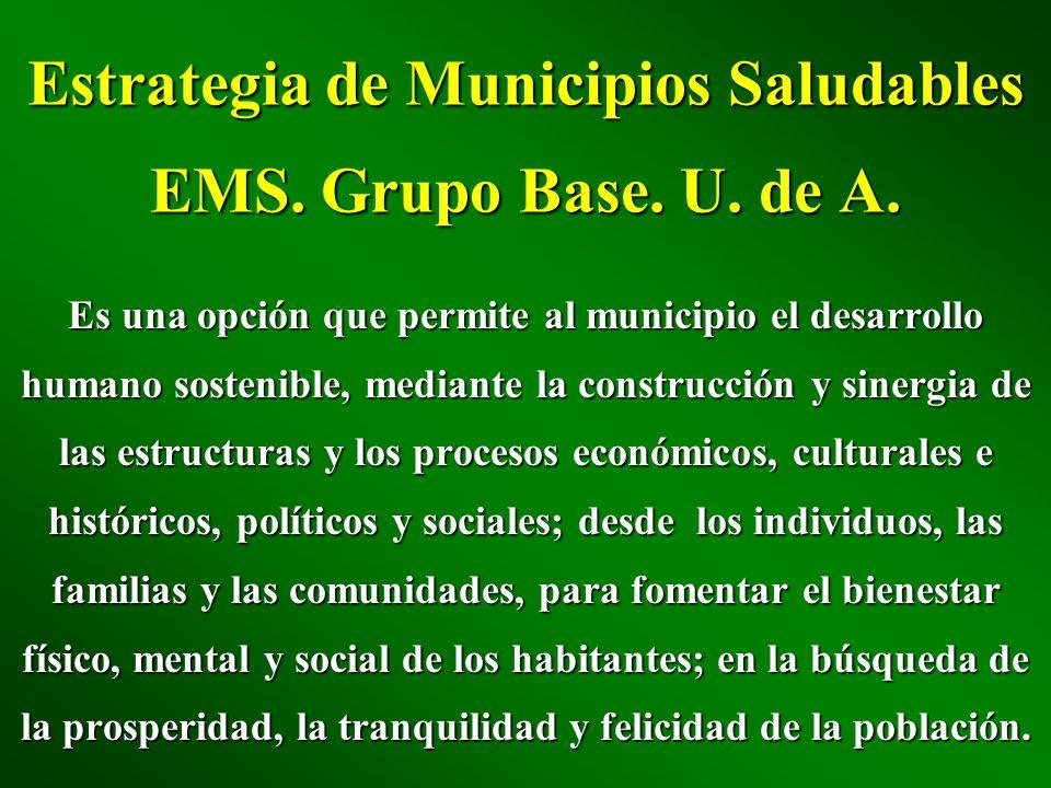Estrategia de Municipios Saludables EMS. Grupo Base. U. de A. Es una opción que permite al municipio el desarrollo humano sostenible, mediante la cons