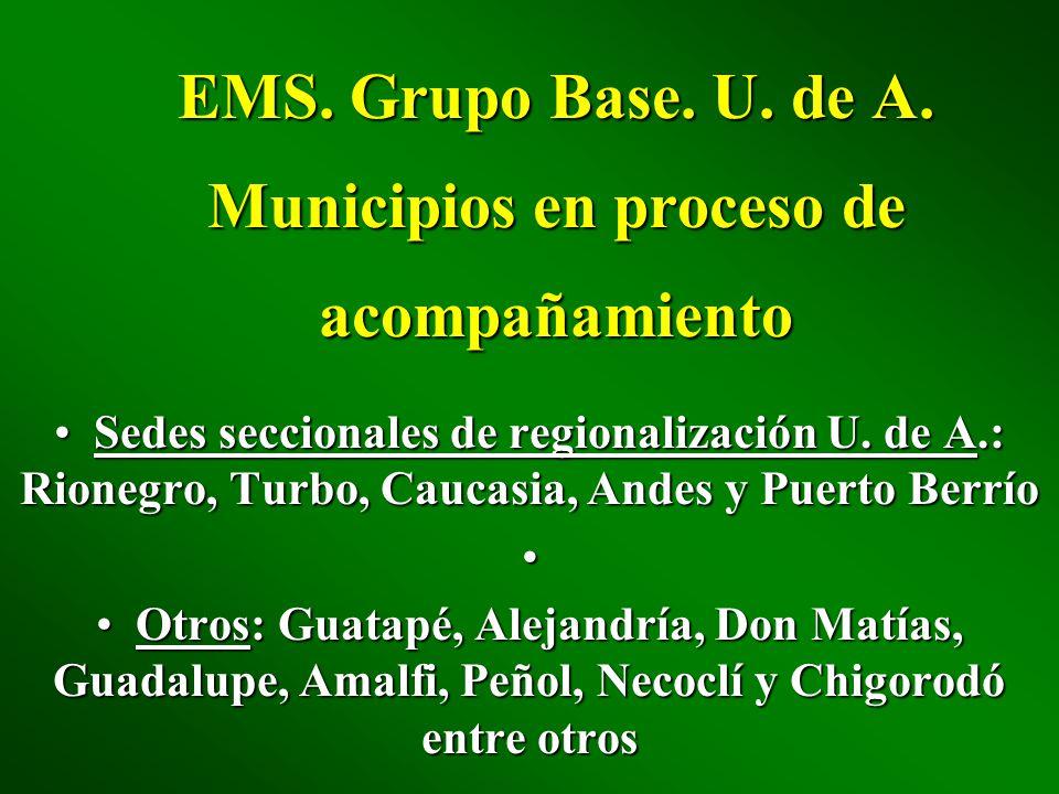 EMS. Grupo Base. U. de A. Municipios en proceso de acompañamiento Sedes seccionales de regionalización U. de A.: Rionegro, Turbo, Caucasia, Andes y Pu