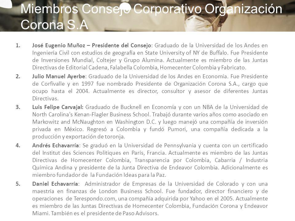 1.José Eugenio Muñoz – Presidente del Consejo: Graduado de la Universidad de los Andes en Ingeniería Civil con estudios de geografía en State Universi