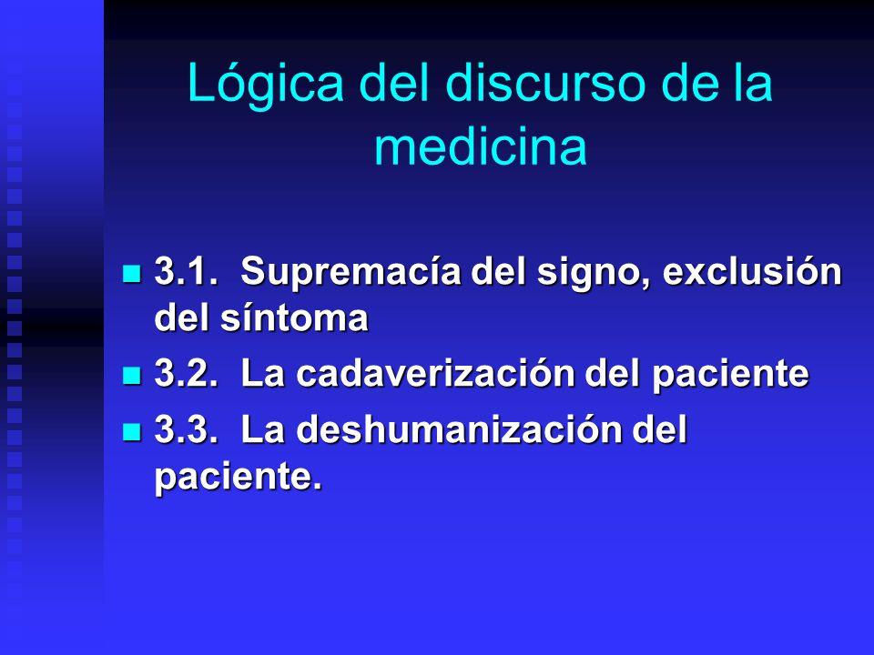Lógica del discurso de la medicina 3.1.Supremacía del signo, exclusión del síntoma 3.1.