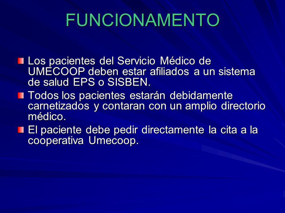 FUNCIONAMENTO Los pacientes del Servicio Médico de UMECOOP deben estar afiliados a un sistema de salud EPS o SISBEN. Todos los pacientes estarán debid