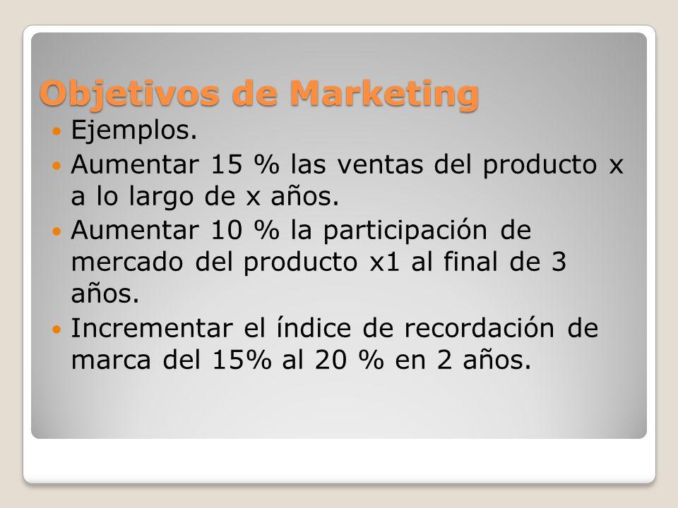 Objetivos de Marketing Ejemplos. Aumentar 15 % las ventas del producto x a lo largo de x años. Aumentar 10 % la participación de mercado del producto
