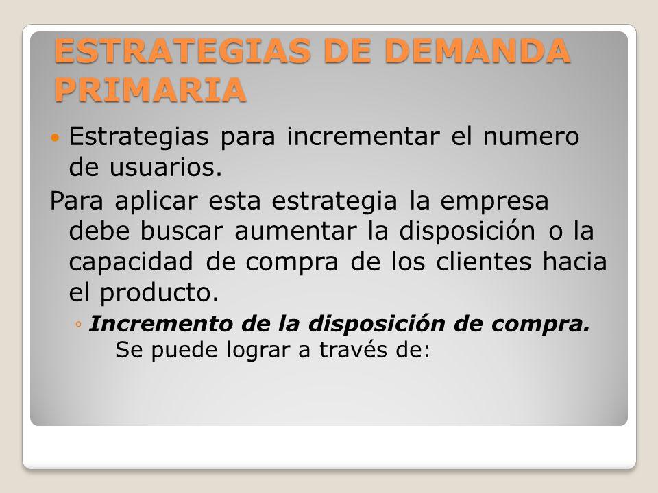 ESTRATEGIAS DE DEMANDA PRIMARIA Estrategias para incrementar el numero de usuarios. Para aplicar esta estrategia la empresa debe buscar aumentar la di