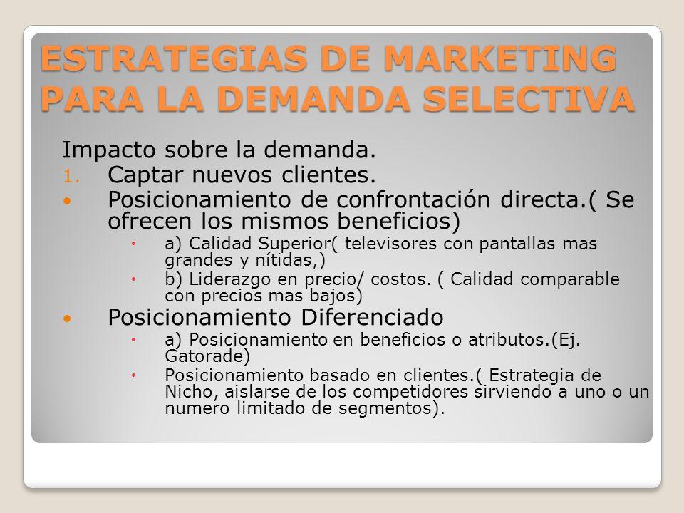 ESTRATEGIAS DE MARKETING PARA LA DEMANDA SELECTIVA Impacto sobre la demanda. 1. Captar nuevos clientes. Posicionamiento de confrontación directa.( Se