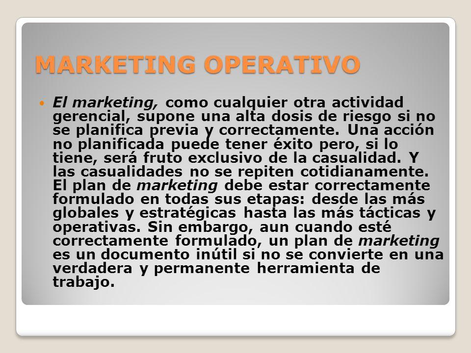 MARKETING OPERATIVO El marketing, como cualquier otra actividad gerencial, supone una alta dosis de riesgo si no se planifica previa y correctamente.