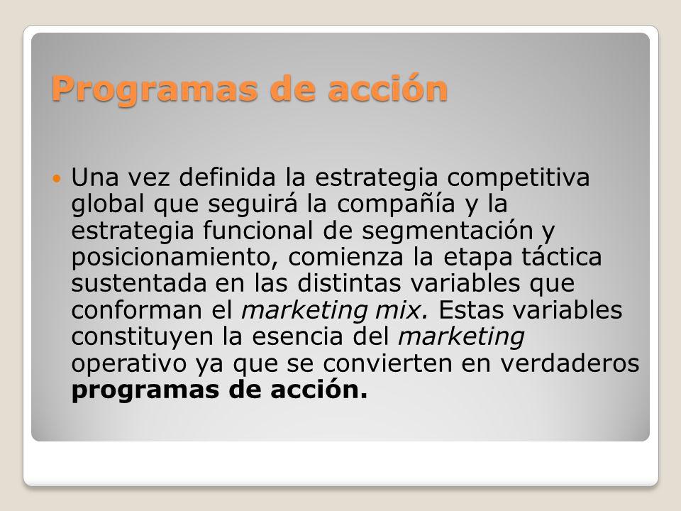 Programas de acción Programas de acción Una vez definida la estrategia competitiva global que seguirá la compañía y la estrategia funcional de segment