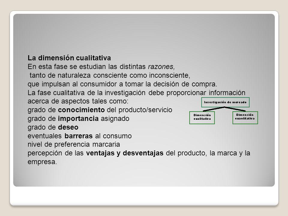 La dimensión cualitativa En esta fase se estudian las distintas razones, tanto de naturaleza consciente como inconsciente, que impulsan al consumidor
