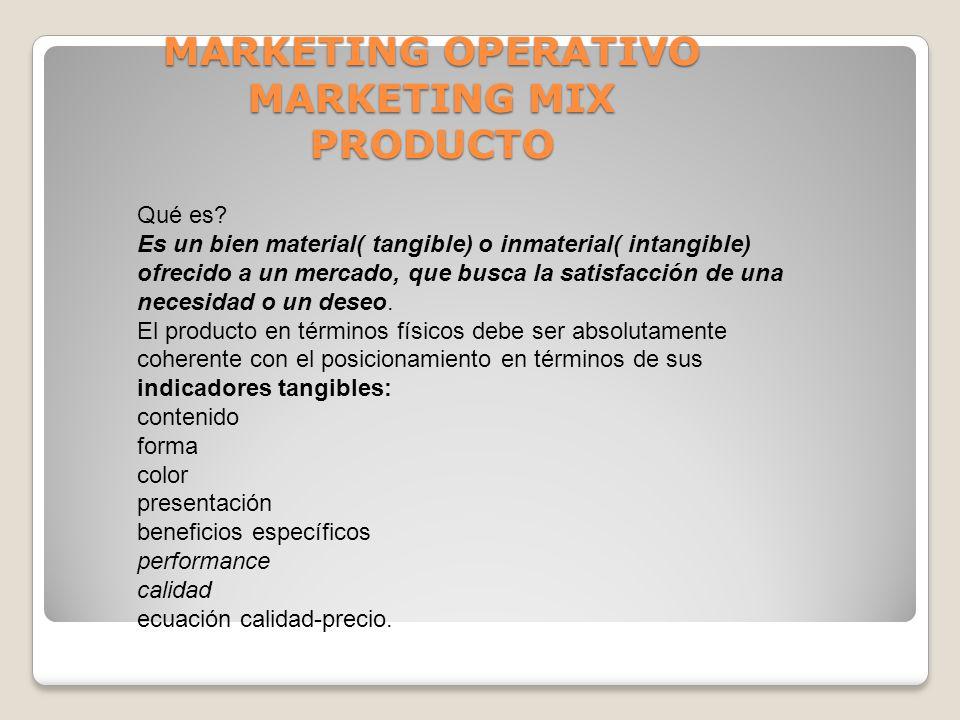 MARKETING OPERATIVO MARKETING MIX PRODUCTO Qué es? Es un bien material( tangible) o inmaterial( intangible) ofrecido a un mercado, que busca la satisf