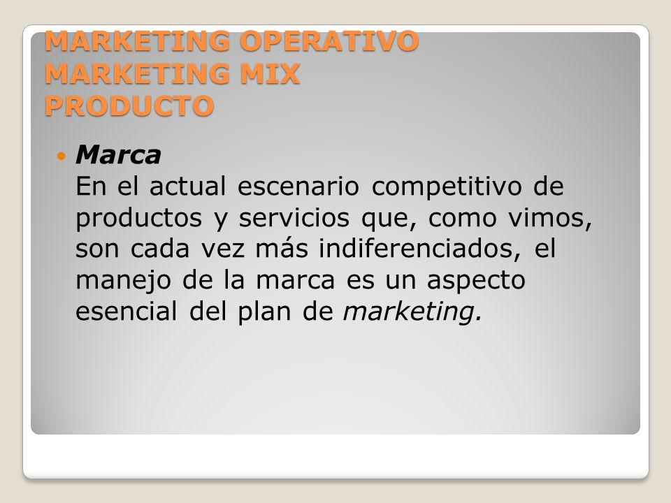 MARKETING OPERATIVO MARKETING MIX PRODUCTO Marca En el actual escenario competitivo de productos y servicios que, como vimos, son cada vez más indifer