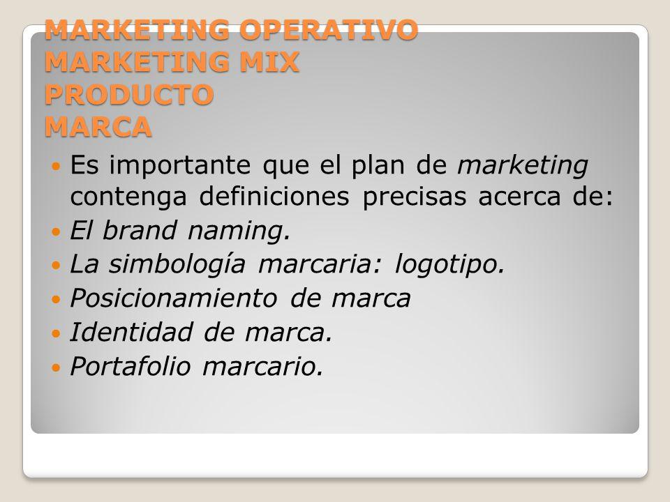 MARKETING OPERATIVO MARKETING MIX PRODUCTO MARCA Es importante que el plan de marketing contenga definiciones precisas acerca de: El brand naming. La