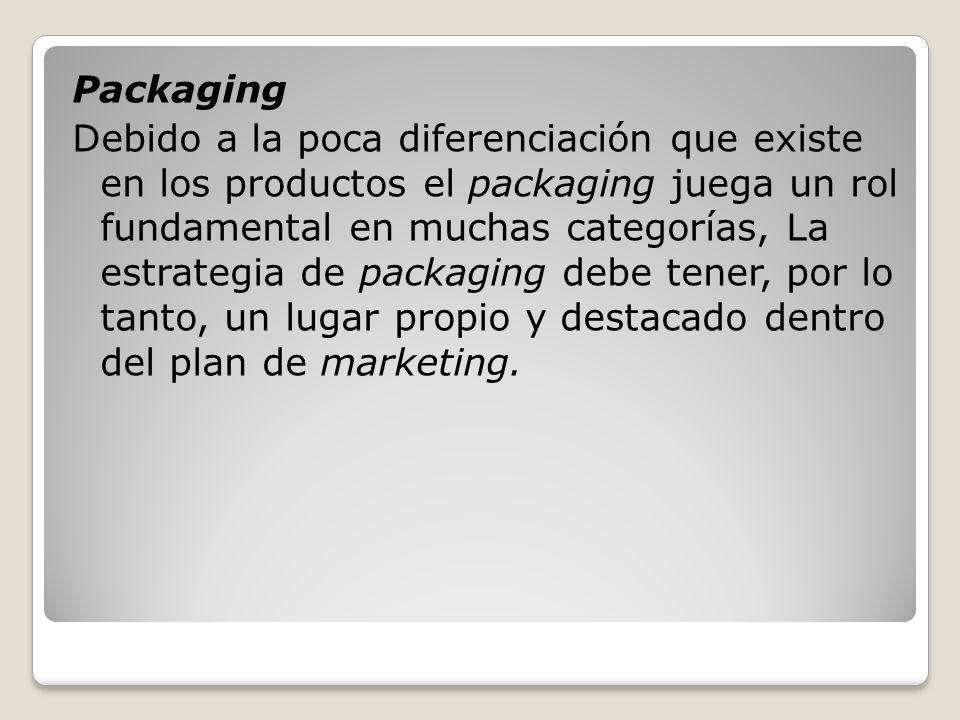 Packaging Debido a la poca diferenciación que existe en los productos el packaging juega un rol fundamental en muchas categorías, La estrategia de pac