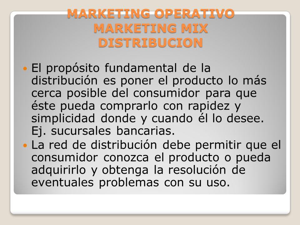 MARKETING OPERATIVO MARKETING MIX DISTRIBUCION El propósito fundamental de la distribución es poner el producto lo más cerca posible del consumidor pa