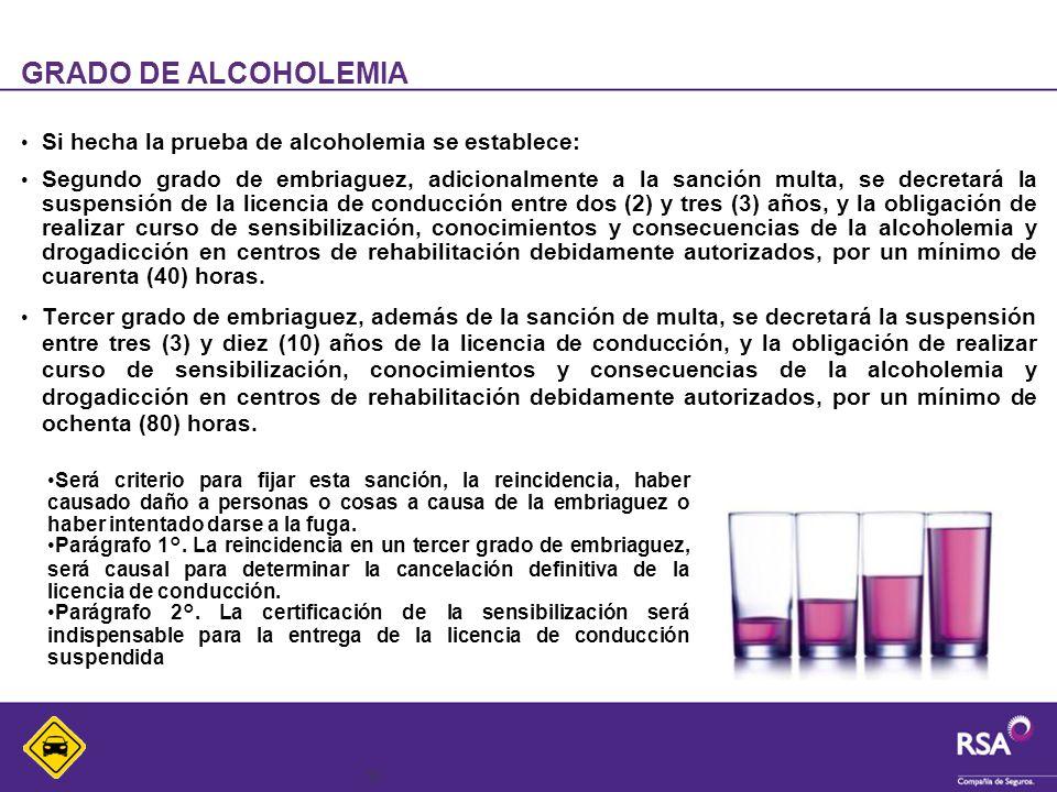 10 GRADO DE ALCOHOLEMIA Si hecha la prueba de alcoholemia se establece: Segundo grado de embriaguez, adicionalmente a la sanción multa, se decretará l