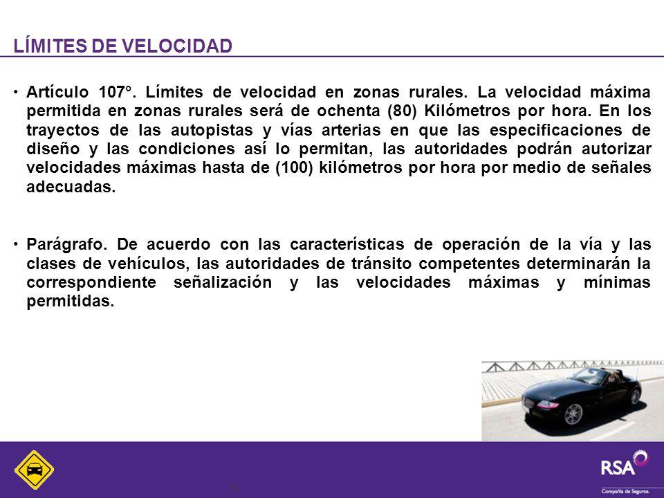 12 LÍMITES DE VELOCIDAD Artículo 107°. Límites de velocidad en zonas rurales. La velocidad máxima permitida en zonas rurales será de ochenta (80) Kiló