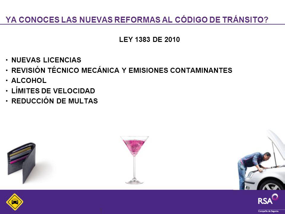 3 YA CONOCES LAS NUEVAS REFORMAS AL CÓDIGO DE TRÁNSITO? LEY 1383 DE 2010 NUEVAS LICENCIAS REVISIÓN TÉCNICO MECÁNICA Y EMISIONES CONTAMINANTES ALCOHOL