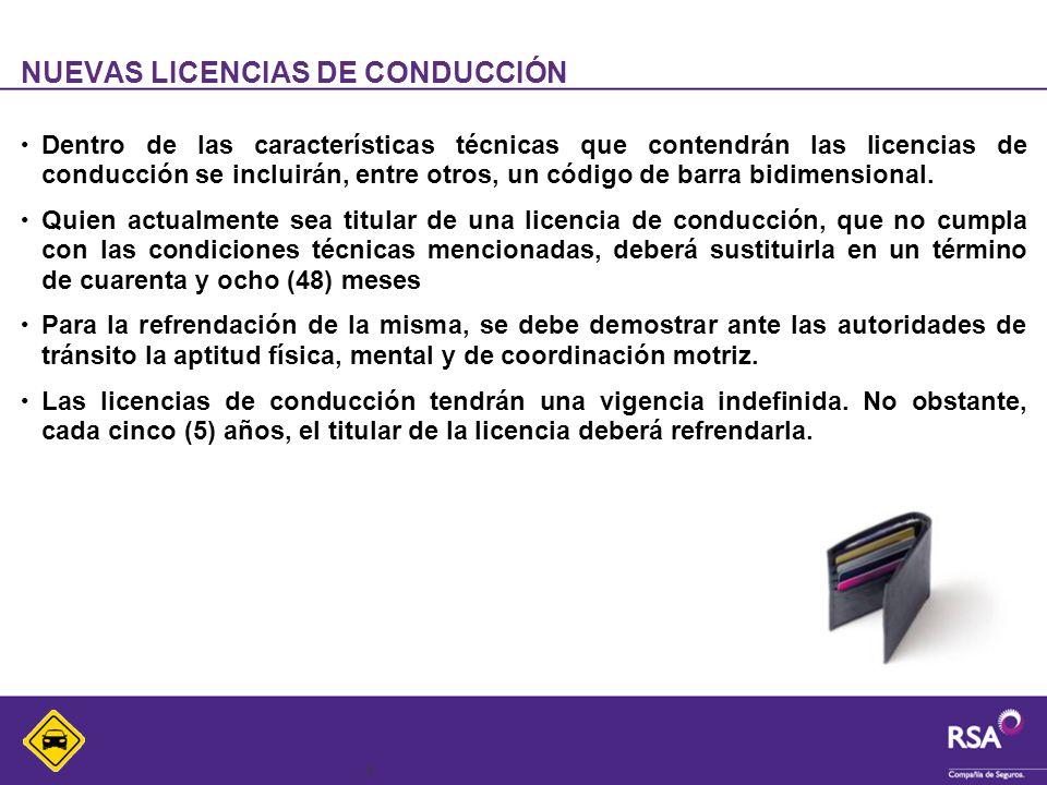 4 NUEVAS LICENCIAS DE CONDUCCIÓN Dentro de las características técnicas que contendrán las licencias de conducción se incluirán, entre otros, un códig