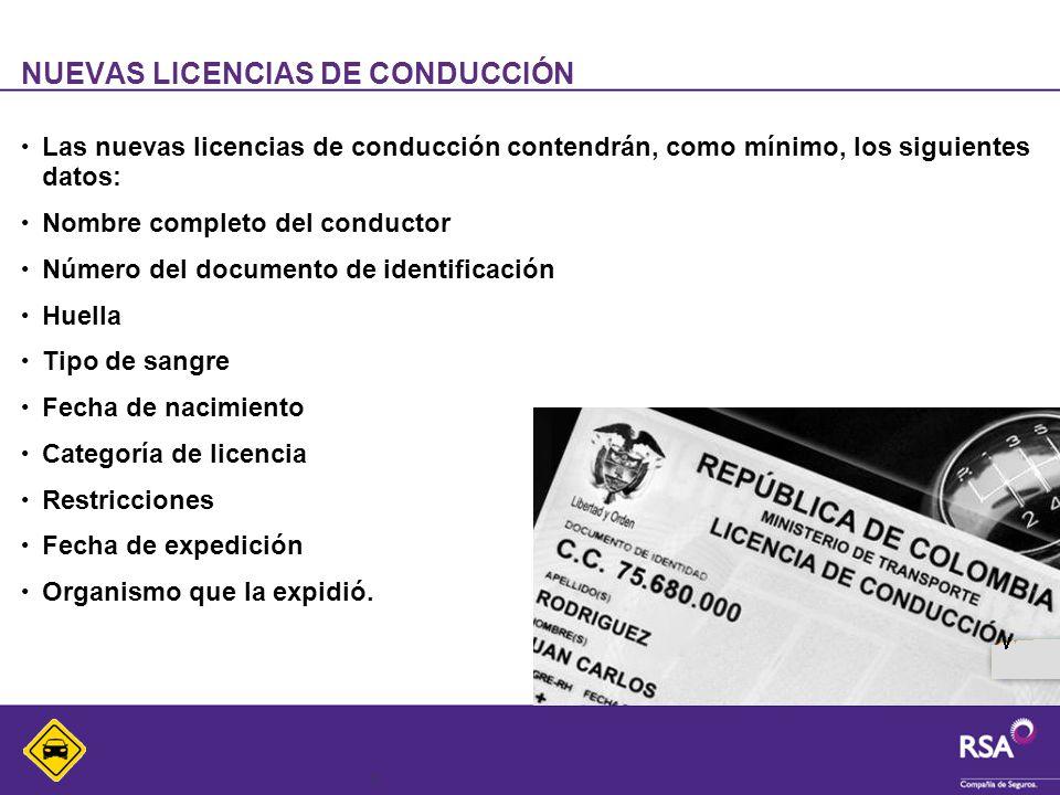 5 NUEVAS LICENCIAS DE CONDUCCIÓN Las nuevas licencias de conducción contendrán, como mínimo, los siguientes datos: Nombre completo del conductor Númer