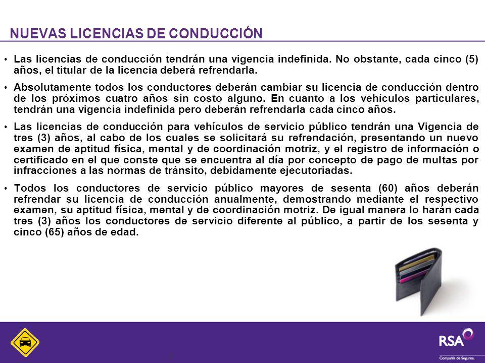 6 NUEVAS LICENCIAS DE CONDUCCIÓN Las licencias de conducción tendrán una vigencia indefinida. No obstante, cada cinco (5) años, el titular de la licen