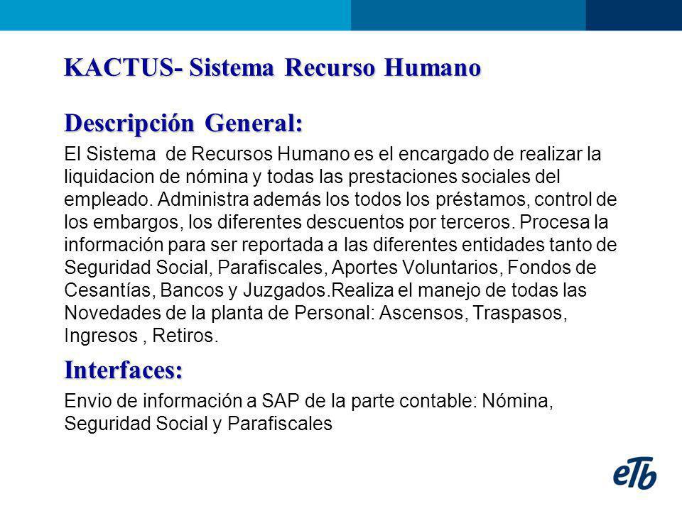KACTUS- Sistema Recurso Humano Descripción General: El Sistema de Recursos Humano es el encargado de realizar la liquidacion de nómina y todas las pre