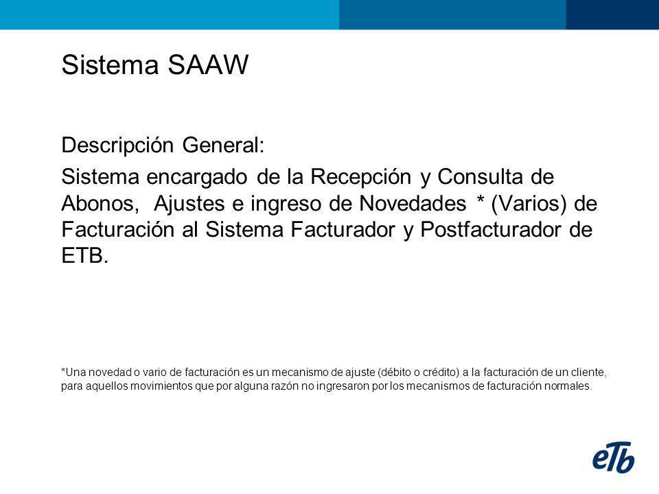 Sistema SAAW Descripción General: Sistema encargado de la Recepción y Consulta de Abonos, Ajustes e ingreso de Novedades * (Varios) de Facturación al