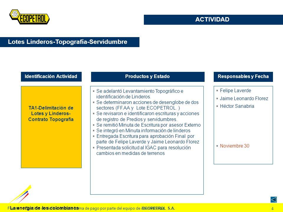 La energía de los colombianos ECOPETROL S.A. 4 Fuente:Ejercicio de definición de la forma de pago por parte del equipo de interventorías TA1-Delimitac