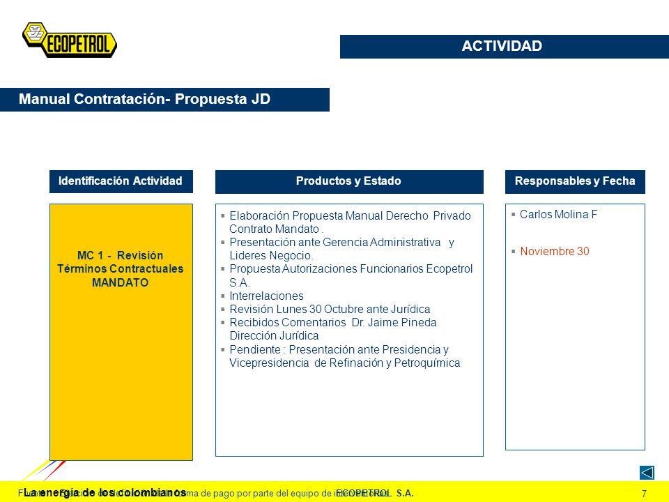 La energía de los colombianos ECOPETROL S.A. 7 Fuente:Ejercicio de definición de la forma de pago por parte del equipo de interventorías MC 1 - Revisi