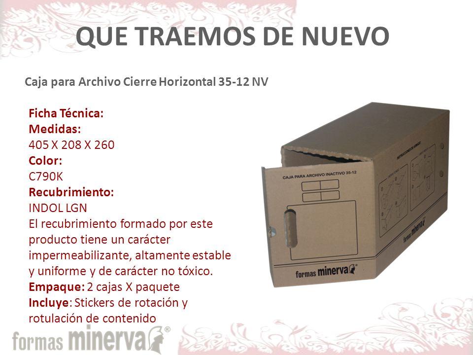 Caja para Archivo Cierre Horizontal 35-12 NV Ficha Técnica: Medidas: 405 X 208 X 260 Color: C790K Recubrimiento: INDOL LGN El recubrimiento formado por este producto tiene un carácter impermeabilizante, altamente estable y uniforme y de carácter no tóxico.