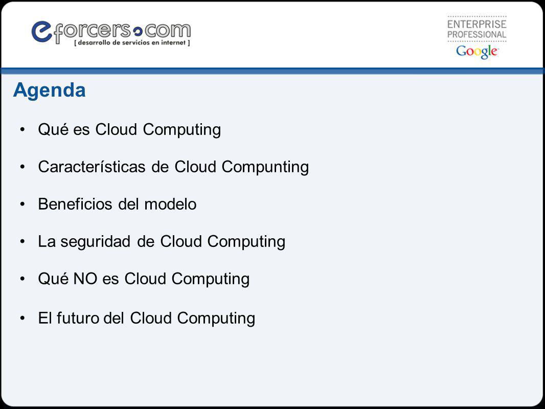 Agenda Qué es Cloud Computing Características de Cloud Compunting Beneficios del modelo La seguridad de Cloud Computing Qué NO es Cloud Computing El futuro del Cloud Computing