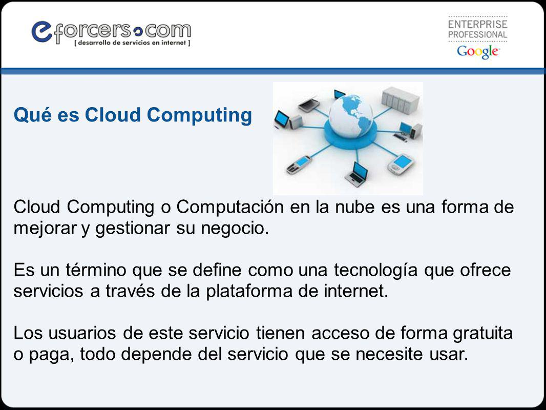 Cloud Computing o Computación en la nube es una forma de mejorar y gestionar su negocio.
