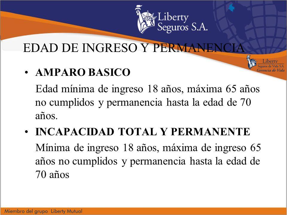 EDAD DE INGRESO Y PERMANENCIA AMPARO BASICO Edad mínima de ingreso 18 años, máxima 65 años no cumplidos y permanencia hasta la edad de 70 años.