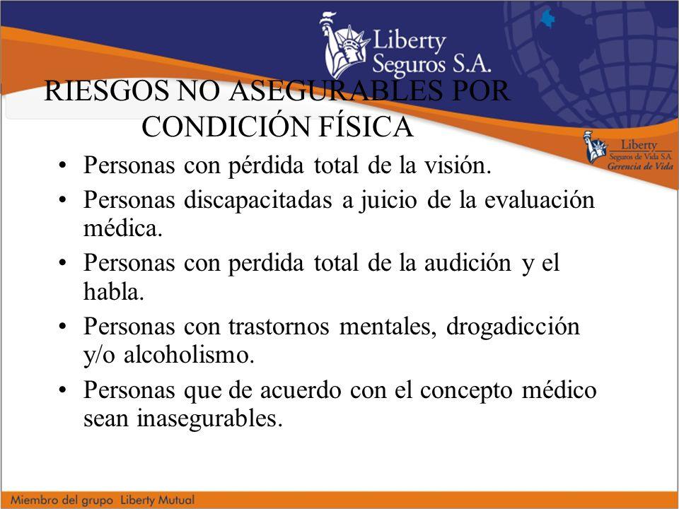 RIESGOS NO ASEGURABLES POR CONDICIÓN FÍSICA Personas con pérdida total de la visión.