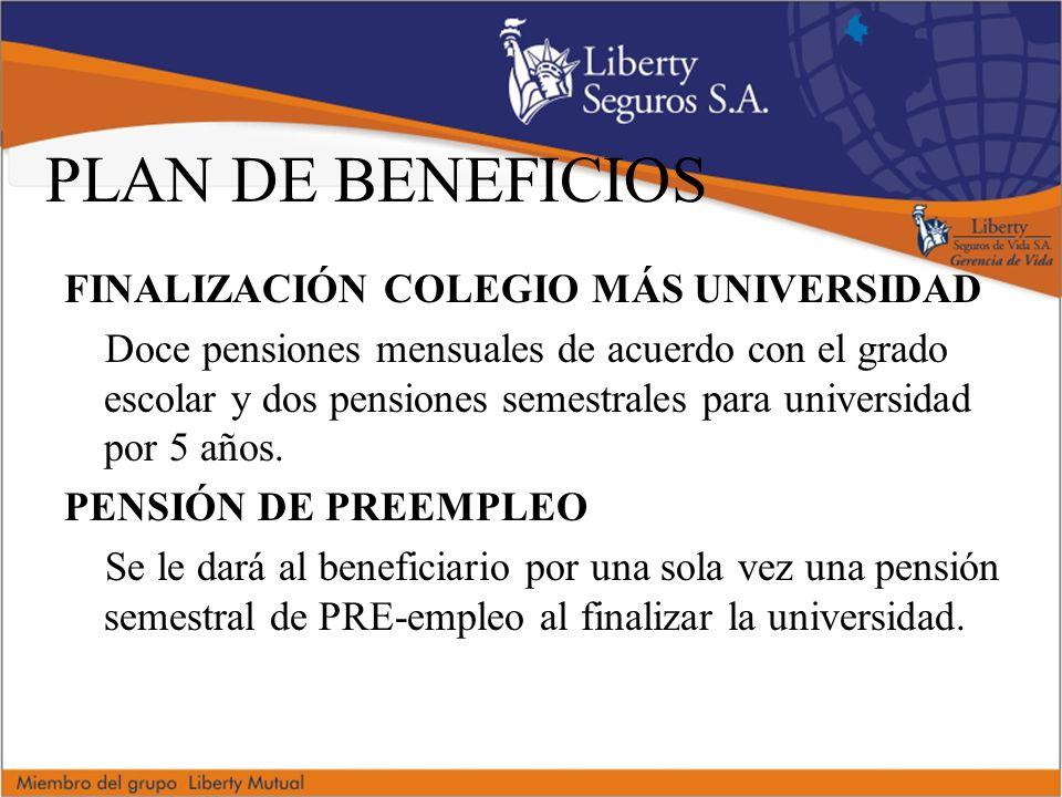 PLAN DE BENEFICIOS FINALIZACIÓN COLEGIO MÁS UNIVERSIDAD Doce pensiones mensuales de acuerdo con el grado escolar y dos pensiones semestrales para universidad por 5 años.