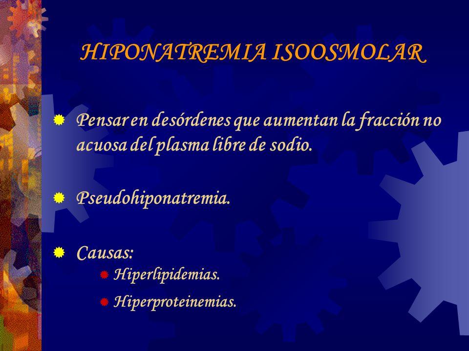 HIPONATREMIA ISOOSMOLAR Pensar en desórdenes que aumentan la fracción no acuosa del plasma libre de sodio.