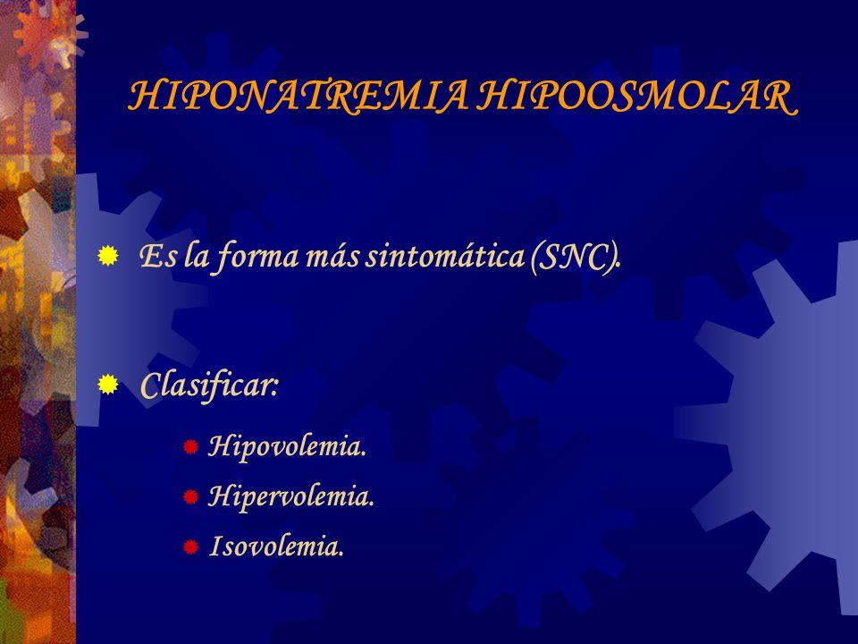 HIPONATREMIA HIPOOSMOLAR Es la forma más sintomática (SNC).