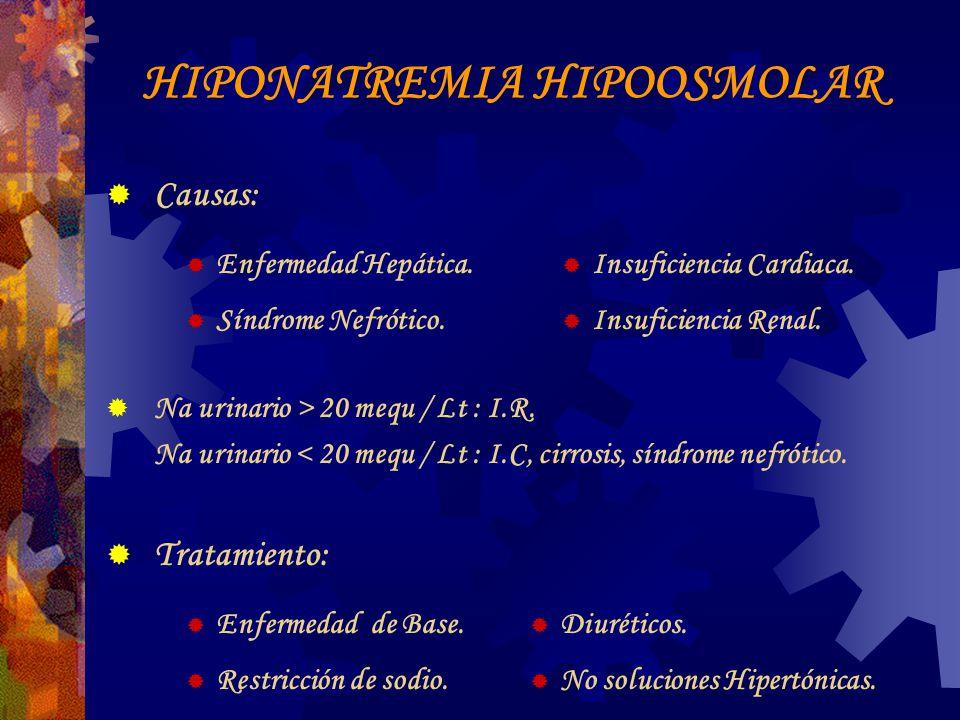 HIPONATREMIA HIPOOSMOLAR Causas: Enfermedad Hepática.